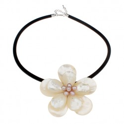 Freshwater Shell Flower Necklace with Pearls & Nylon Coated Rubber Rope