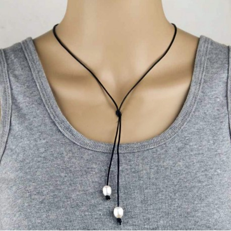 Natural Fresheater Pearl Double Pendants with Rubber Rope