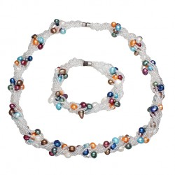 Conjunto collar y pulsera con perlas naturales coloreadas