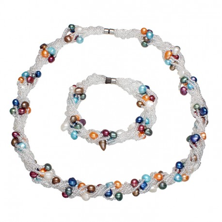 Colorful Natural Cultured Freshwater Pearl Jewelry Set