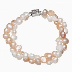 Pulsera de cuentas con doble vuelta elaborada con perlas naturales