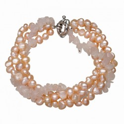 Freshwater Cultured Pearl Bracelet with Rose Quartz