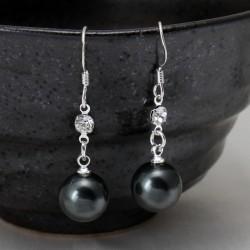 Pendientes de plata 925 con perla elaborada con polvo de nácar