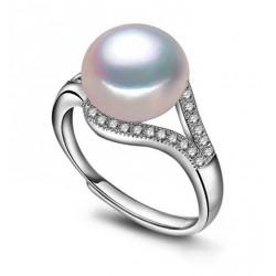 Anillo solitario en plata 925 con perla auténtica