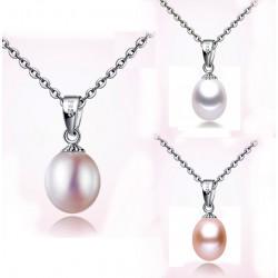 Collar en plata 925 con perla natural, varios tonos.