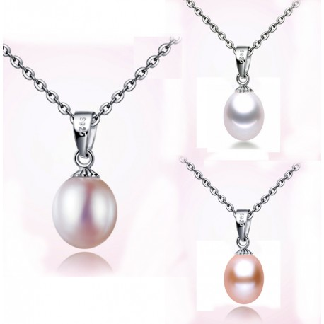 Simple fresh water pearl pendant necklace simple and trendy 8 9mm fresh water pearl pendant necklace aloadofball Images