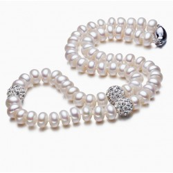 Natural White Freshwater Pearl Necklace with Crystal Balls