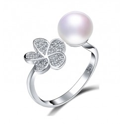 Round Natural Freshwater Pearl Silver Ring