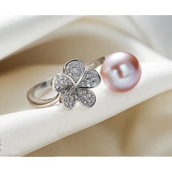 Anillo de plata 925 con Perla y Flor