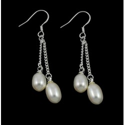 Freshwater Pearl Drop Earrings with Two Pearls