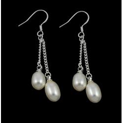 Pendientes de plata 925 tipo colgante con dos perlas