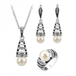 3Pcs Antique Silver Color Pearl Jewelry Set