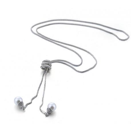 e0a8ae28cc29 collar largo con dos colgantes con perla