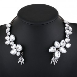 Water Drop Crystal Flower Necklace Xitang