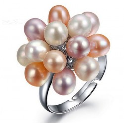 Water Drop Natural Freshwater Pearl Flower Ring