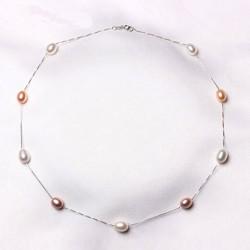 Collar de plata 925 con Perlas naturales en tonos pasteles