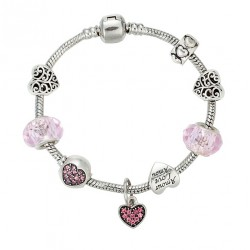 European Style Bracelet with Hearts and Love charms