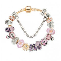 Gold Colour European Style Bracelet with Murano Glass Beads