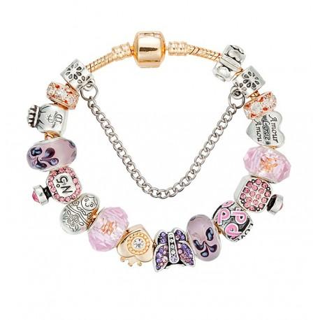 2ea9c03ddd51 Pulsera de cuentas dorada charms de corazones en cristal Murano rosa ...