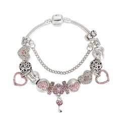 Pulsera estilo Europea con abalorios Corazones de cristal rosa