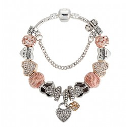 European Style Bracelet with Gold and Silver Colour Heart Charms