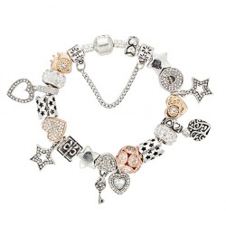 European Style Bracelet with Gold and Silver Colour Star & Heart Charms