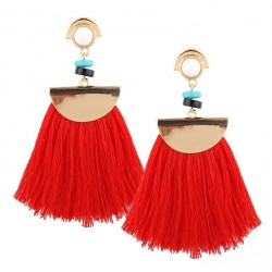 Ethnic Big Long Tassel Fringe Earrings Danubio