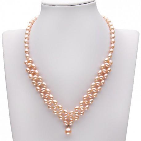 628804d1ed88 collar con perlas color rosa con colgante perla