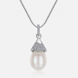 925 Sterling Silver Necklace with Zircon & Natural Pearl Pendant
