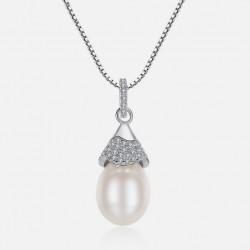 Collar de plata 925 con colgante con cristales y perla