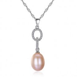Collar de plata 925 con colgante de anillos de plata y perla