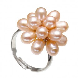 Pink color Natural Freshwater Pearl Flower Ring