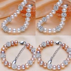 Pulsera de cuentas de perlas y esferas intercaladas tipo Shambala