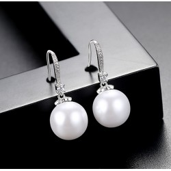 Pearl Drop Earrings with Cubic Zirconia