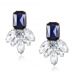 Blue Crystal Rhinestone Drop Earrings