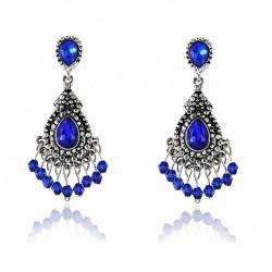 Luxury Blue Crystal Tassel Drop Earrings