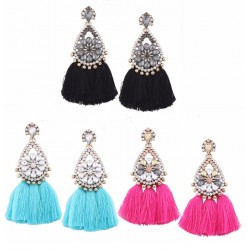 Flower Crystal Mix Color Tassel Drop Earrings Xiang