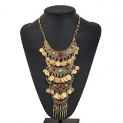 Boho Style Coin Long Tassels Choker Necklace