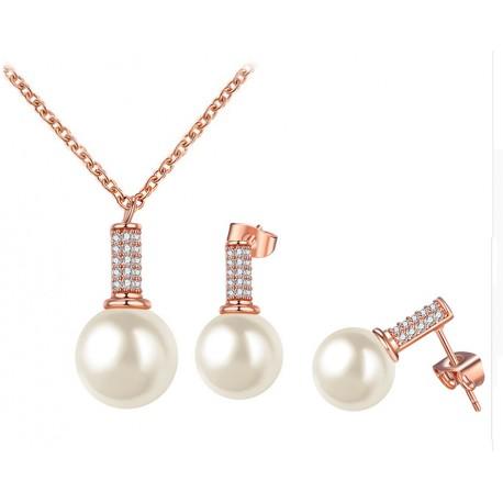 Conjunto color oro rosado con colgante Perla y cristales