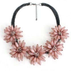 Statement Necklace with Five Maxi Rose Color Flowers