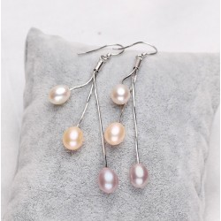 925 Silver Earrings with 3 Multicolour Freshwater Pearls