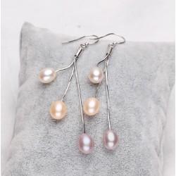 Pendientes de Plata 925 con 3 perlas naturales de agua dulce