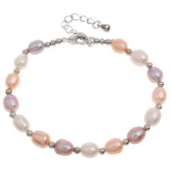 Freshwater Cultured Rice Pearl Bracelet Multicolor Pearls