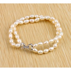Freshwater Cultured White Rice Pearl Bracelet with Silver Hearts