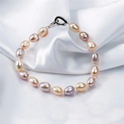 Freshwater Cultured Rice Multi Color Pearl Bracelet with Silver Clasp