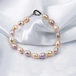 Pulsera de cuentas con perlas de agua dulce en tonos pastel y cierre de plata 925