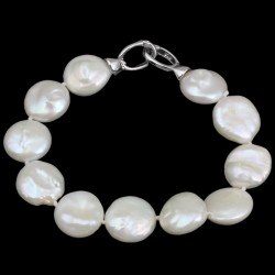 Natural White Freshwater Coin Pearls Bracelet with Silver Clasp
