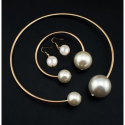 Huge Imitation Pearl Necklace Bangle Earrings Set