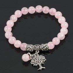 Natural Crystal Gem Stone Beads Bracelet with Tree of Life Charms
