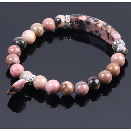 Natural Stone Beads Bracelet with Heard Charm